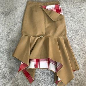 NWT Monse Plaid Asymetric Zip Skirt